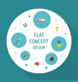 flat icons rocket table tennis ball and other vector image vector image
