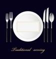 Forks spoon knives plates Serving set vector image vector image