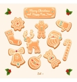 Gingerbread cookies on white background Snowflake vector image vector image