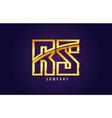 gold golden alphabet letter rs r s logo vector image