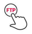hand presses the button with text ftp vector image