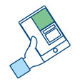 hand with smartphone icon vector image vector image
