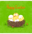 Happy Easter card template basket with eggs vector image vector image