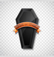 happy halloween with shiny black wood coffin on vector image
