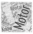 How to Find Motor Home Rentals Word Cloud Concept vector image vector image