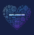 influencer heart concept colored thin line vector image