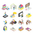 isometric book set reading books textbooks vector image vector image