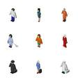 isometric people set of housemaid medic vector image vector image