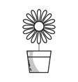 line sunflower with petals inside to flowerpot vector image vector image