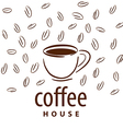 Logo cup and coffee beans