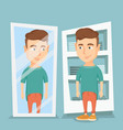 man trying on t-shirt in a dressing room vector image vector image