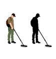 man using metal detector with backpack vector image vector image