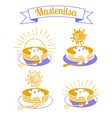maslenitsa set icons vector image