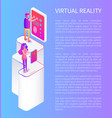 people playing in glasses virtual reality cartoon vector image