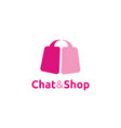 pink bubble chat and shop bag logo design vector image