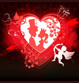 red background with a silhouette of a heart vector image vector image