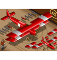 Red biplane vector image