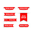 red special offer banners with shadows on white vector image vector image