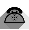 retro telephone sign black icon with two vector image vector image