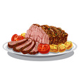 roastbeef with baked potatoes vector image vector image