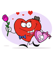 Romantic Heart Guy Carrying A Pink Rose vector image vector image