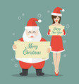 santa claus and girl in flat style vector image vector image