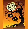 scene with halloween tree 2 vector image vector image