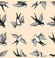 seamless pattern with swallows in old school vector image vector image