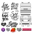 Set of Love Texts Borders and Symbols on White