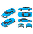set of sedan cars isolated car template for vector image vector image