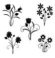 silhouette of black flowers vector image vector image