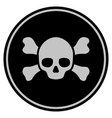 skull crossbones black coin vector image