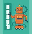 smart orange robot with gears vector image vector image
