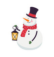 snowman in scarf and top hat holding lantern vector image