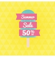 Summer Sale 50 per cent off with ice-cream and vector image vector image