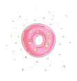 sweet pink donut cartoon icon with colorful vector image vector image