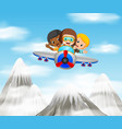 three boy riding a plane over mountain vector image vector image