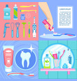 toothbrush banner set flat style vector image