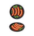 top and side view pictures of grilled sausages vector image vector image