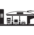 Truck bus and car at gas station vector image