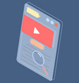 video player interface social website with video vector image