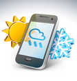 Weather on smartphone vector image vector image