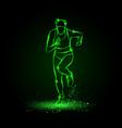 woman runs front view green neon vector image vector image