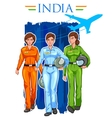 Women pilot on Indian background showing vector image vector image