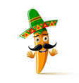 yellow chilli pepper character with sombrero hat vector image vector image