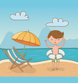 young boy on beach scene vector image
