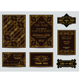 Set of Wedding Cards - Art Deco Vintage Style vector image