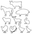 farm animals silhouettes in line style vector image