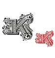 Letter K in retro vintage style vector image