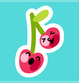 a pair of smiling and happy cherries vector image